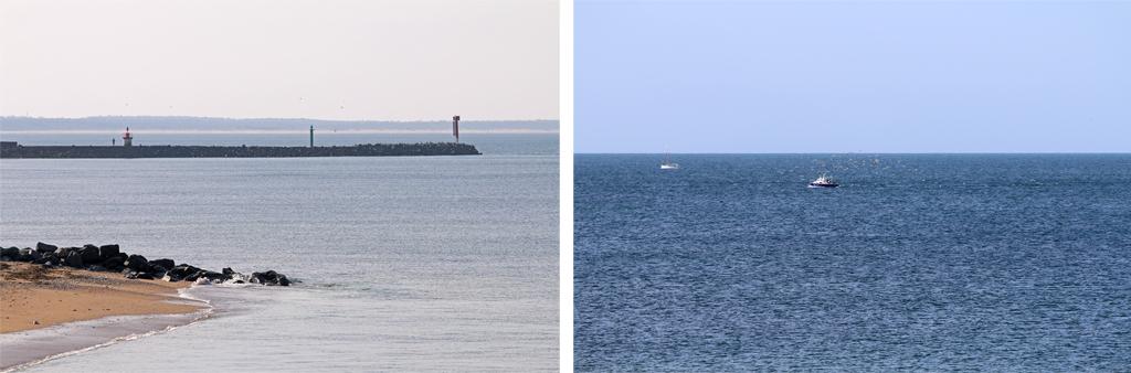 L'entrée du port et les bateaux de pêche avec les mouettes opportunistes