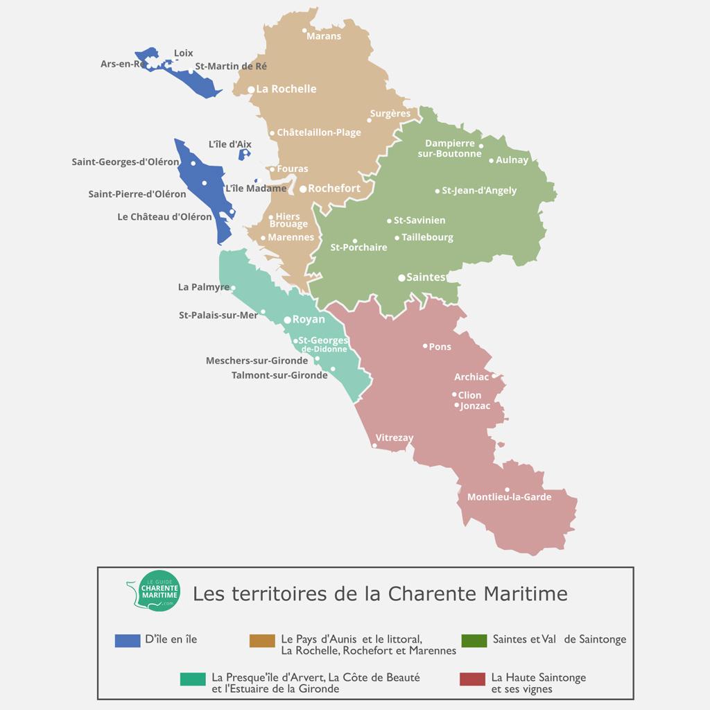 Carte de la Charente Maritime, territoire d'Iles en iles