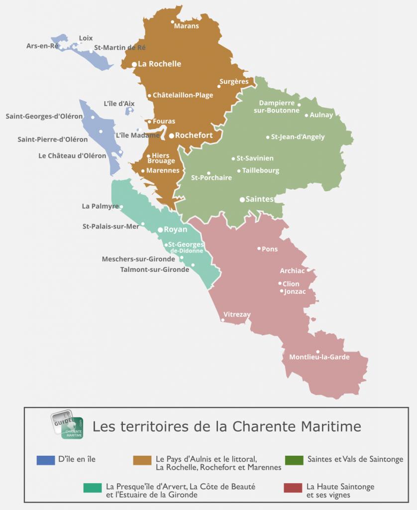 Carte du Pays d'Aulnis et du littoral de la Charente Maritime